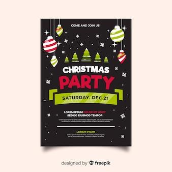 Рождественская вечеринка флаер шаблон плоский дизайн стиль