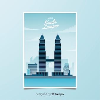 Ретро рекламный плакат куала-лумпур