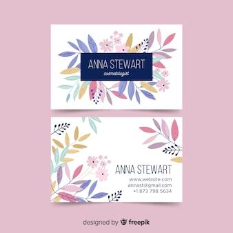 Элегантный шаблон визитной карточки с цветами