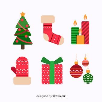 フラットなデザインのクリスマス要素のパック