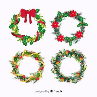 Плоская рождественская коллекция цветов и венков