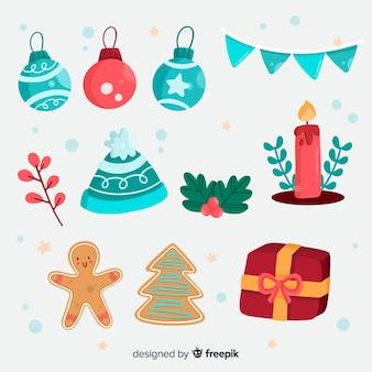 フラットなデザインのクリスマスの装飾