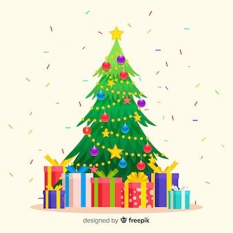 フラットなデザインのプレゼントとクリスマスツリー