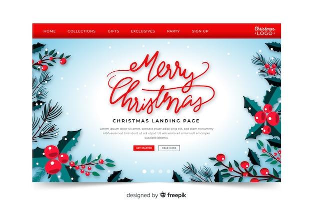 手描きのメリークリスマスのランディングページ