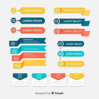 Набор плоских инфографики элемент