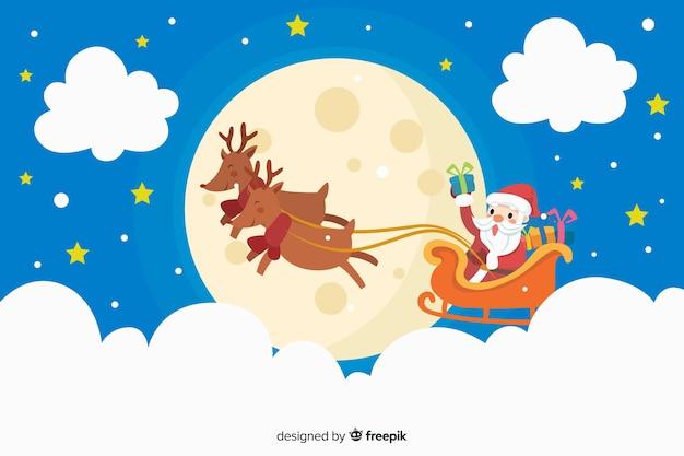 Санта-клаус и олени фон в плоском дизайне