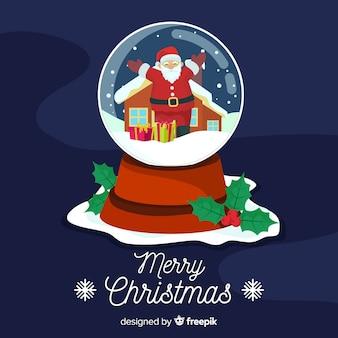 Рождественский снежный шар плоский дизайн стиль