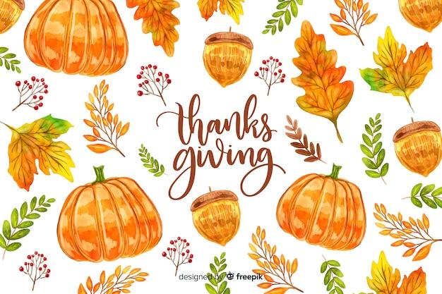 Красочный акварельный фон благодарения