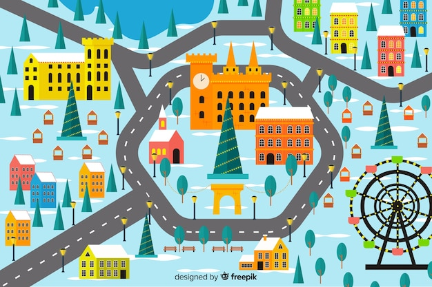 Плоский дизайн рождественского городка