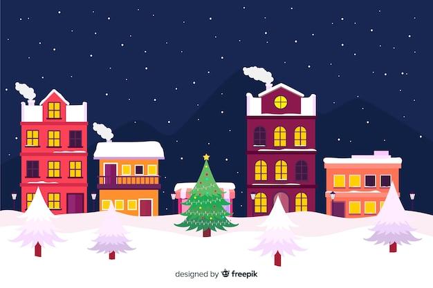 クリスマスタウンのフラットなデザイン