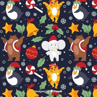 Рождественский забавный узор с животными