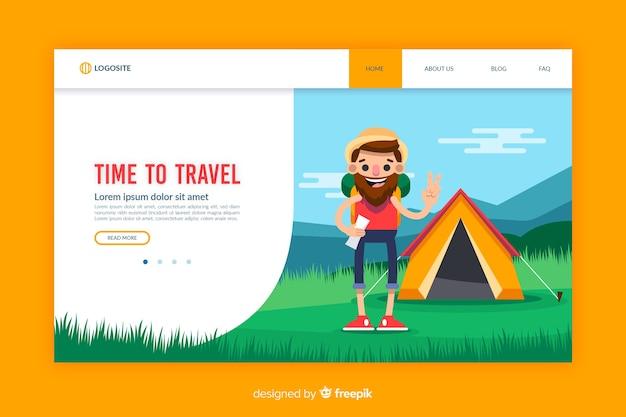 Шаблон целевой страницы для путешествий с плоским дизайном