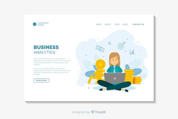 Плоский дизайн шаблона бизнес-страницы посадки