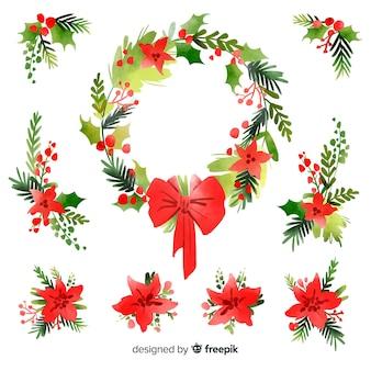 水彩クリスマスフラワー&リースコレクション