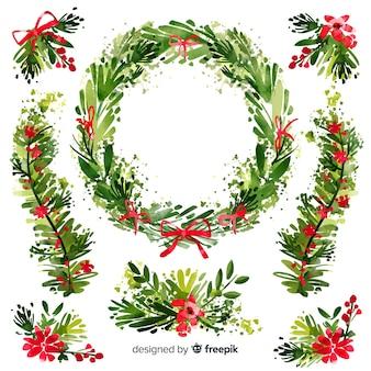 水彩のクリスマスフラワー&リースのコレクション