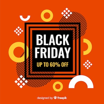 黒い金曜日のオレンジ色のフラットなデザイン