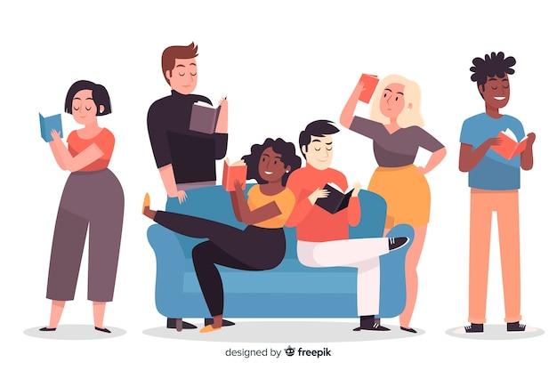 Молодые люди читают книгу