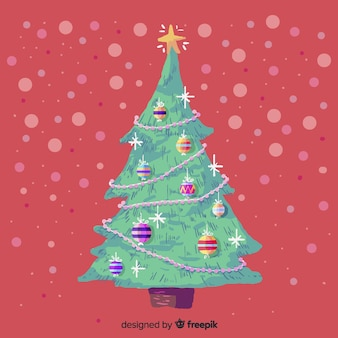 美しい水彩画のクリスマスツリー