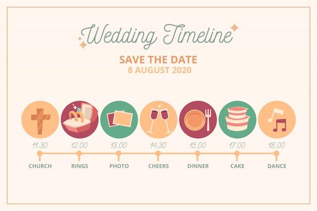 直線的なスタイルのフラットなデザインの結婚式のタイムライン