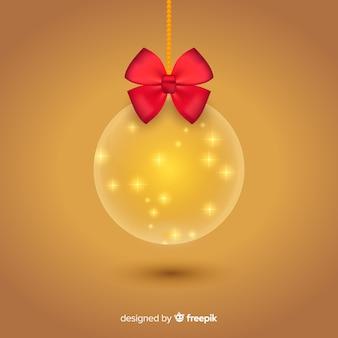 Оранжевый хрустальный елочный шар с градиентом