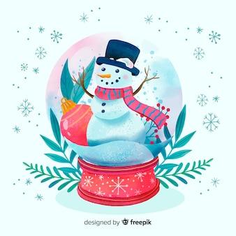 水彩クリスマス雪玉グローブ