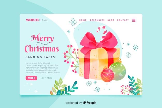 カラフルな水彩クリスマスランディングページ