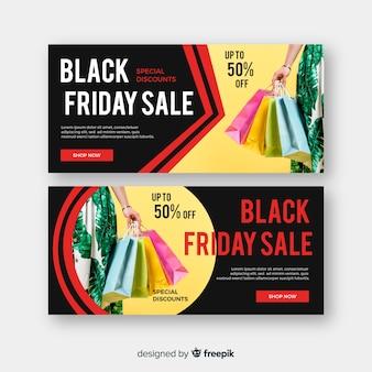 Плоский дизайн баннеров черная пятница с фото