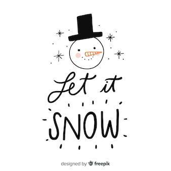Рождественская надпись со снеговиком