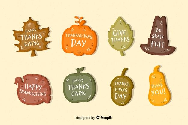Коллекция благодарения этикетки в плоском дизайне