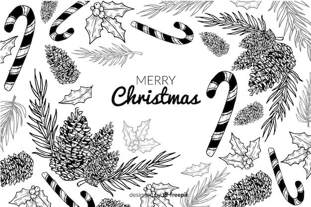 手描きスケッチクリスマス背景