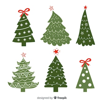 手描きのリボンとクリスマスツリー
