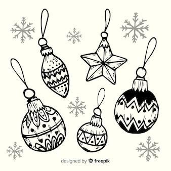 Нарисованные от руки эскизы новогодних шаров