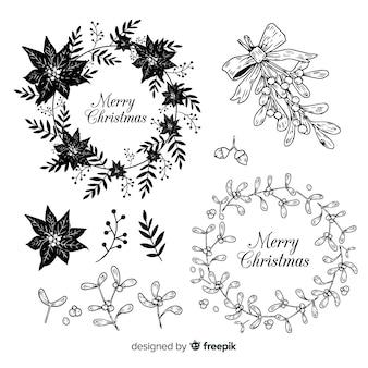 クリスマスの花と花輪のコレクションをスケッチ