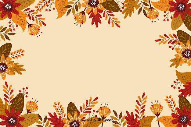 感謝祭の背景のフラットなデザインフレーム