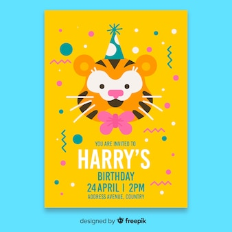 黄色の子供の誕生日の招待状のテンプレート