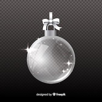 透明な背景に分離されたクリスタルクリスマスボール
