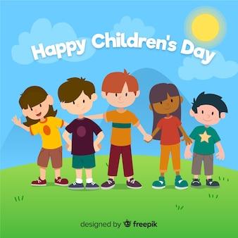 手を繋いでいる子供たちと子供の日のフラットなデザイン