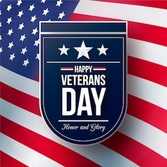 День ветеранов с реалистичным флагом