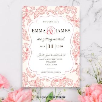 Элегантное дамасское свадебное приглашение