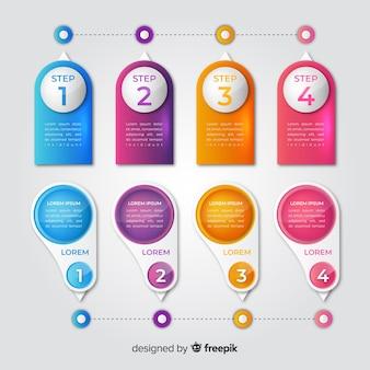 Красочный реалистичный глянцевый график времени инфографики