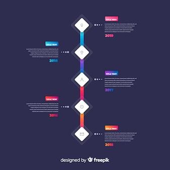 Градиент темная тема временной шкалы инфографики шаблон