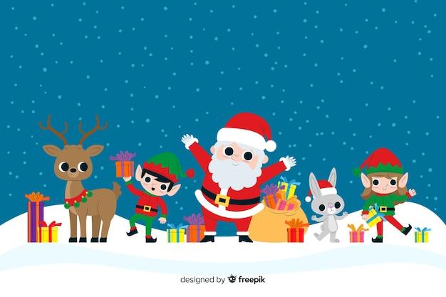 Плоские рождественские персонажи танцуют