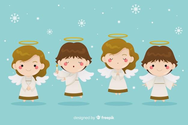 Ангелы с крыльями плоский дизайн