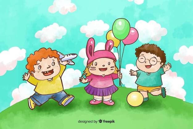 外で遊ぶ水彩画の子供の日