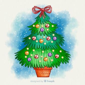 Акварельная рождественская елка с лентой на вершине
