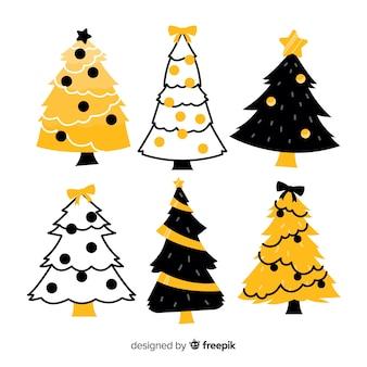 手描きのクリスマスツリーコレクション