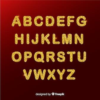 黄金の輝くクリスマスアルファベット