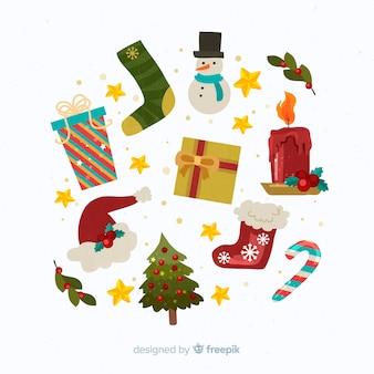 Плоский дизайн рождественские украшения