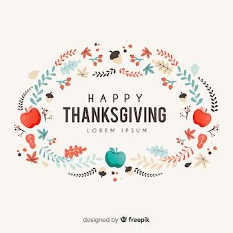 Плоский фон благодарения с яблоками и листьями
