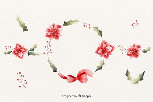 水彩デザインで花のクリスマスリース